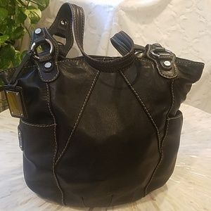 TIGNANELLO TOUCHABLES BLACK LEATHER TOTE
